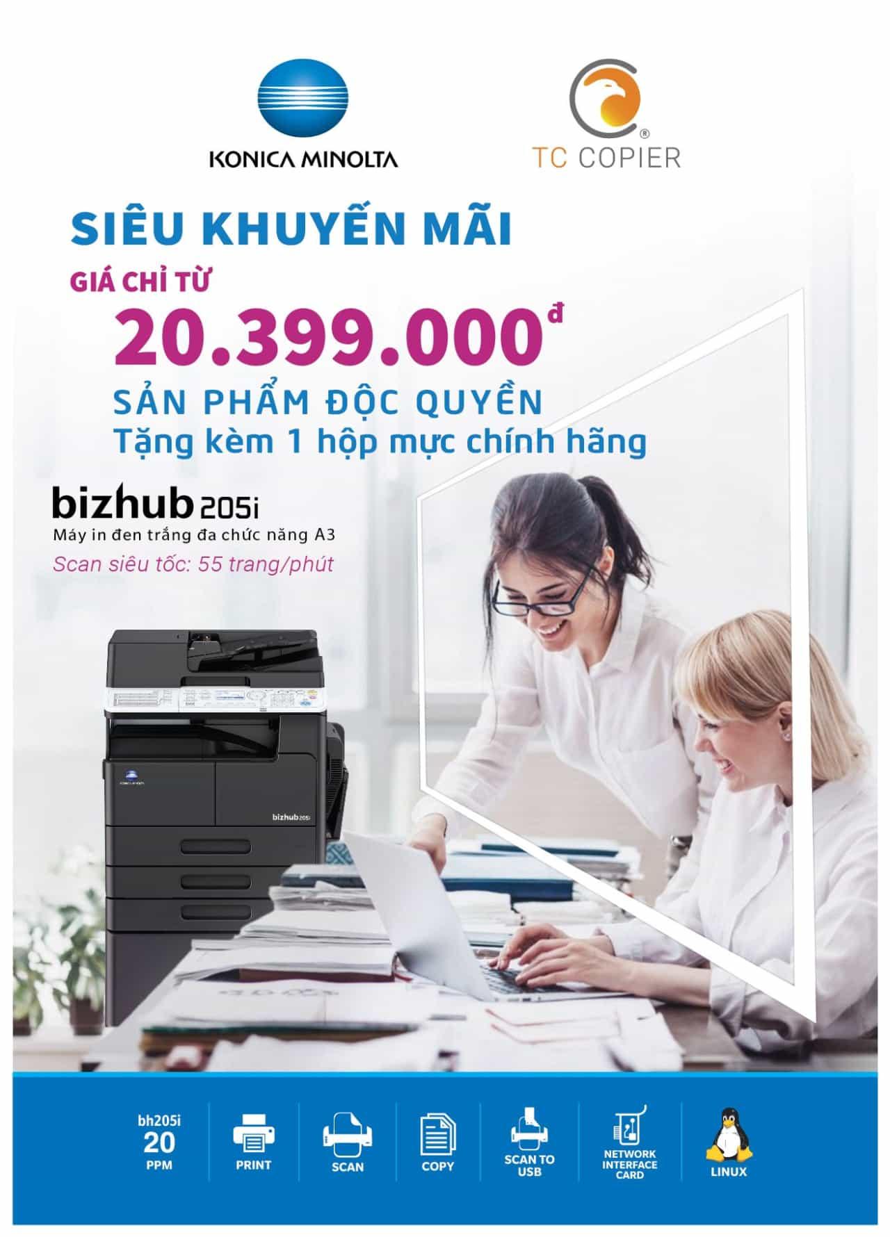 Máy photocopy Konica Minolta bizhub 205i giảm giá tặng mực